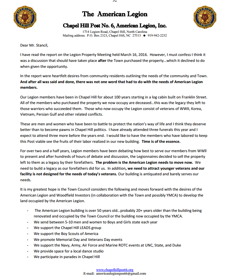 American legion post 6 letter to town manager american for American legion donation letter