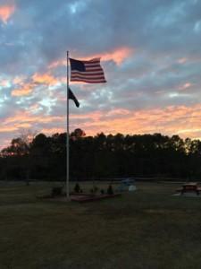 Post 6 flag at dusk - Photo by Hunter Rudd